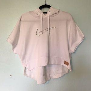 Nike White cropped hooded shirt sleeve sweatshirt